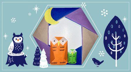 折り紙でふくろうリースの作り方