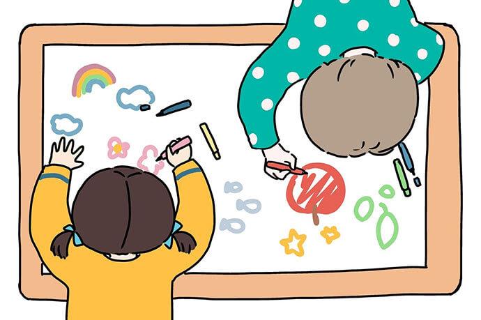 お絵かき陣取りゲームする子どもたちのイラスト