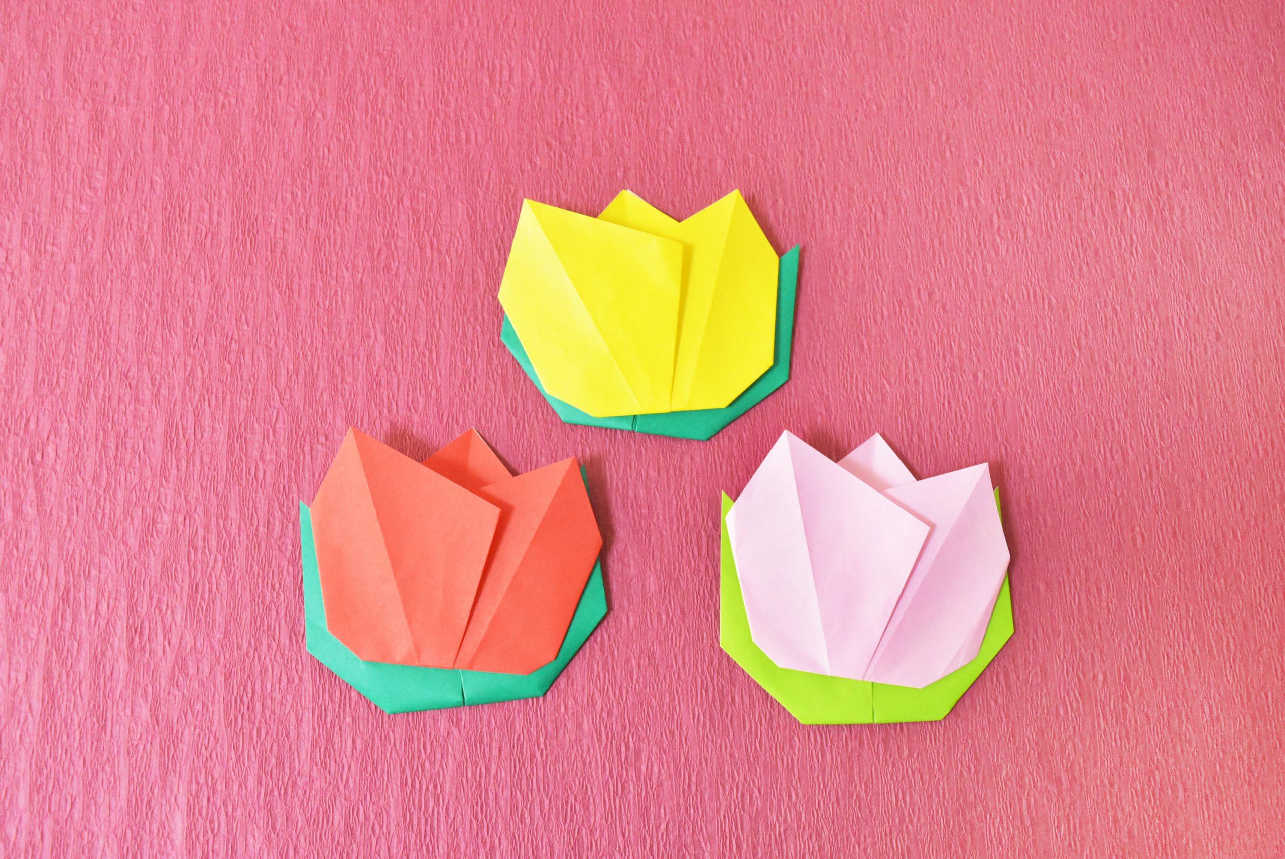 【折り紙】子どもでも簡単に折れるチューリップの折り方